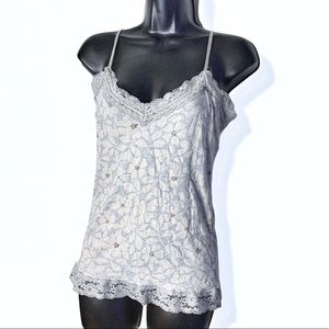 Size L grey and cream cami lace detail AE